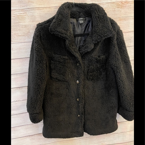 Forever 21 black teddy Shacket Size M